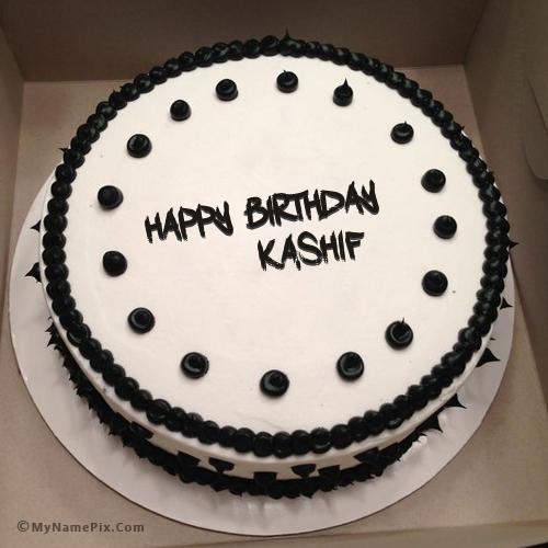 Black And White Birthday Cake With Name Kashif White Birthday Cakes Birthday Cake Girls Cake Name