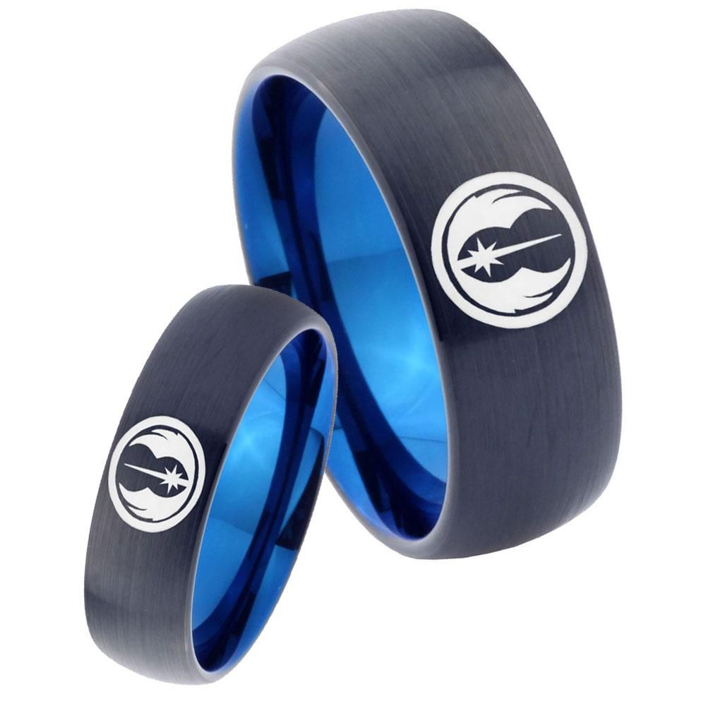 His hers star wars jedi dome tungsten carbide blue promise