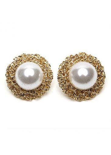 USD$1.47 Elegant Faux Pearl Match Iron Edge White Earrings For Lady at martofchina.com