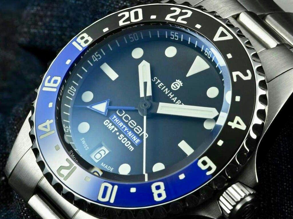 Steinhart Ocean 39 Gmt Premium 500 Swiss Made Eta 2893 2 Elabore Premium Decorated Movement Blue Screws And Go Deep Blue Watches Blue Watches Steinhart Watch