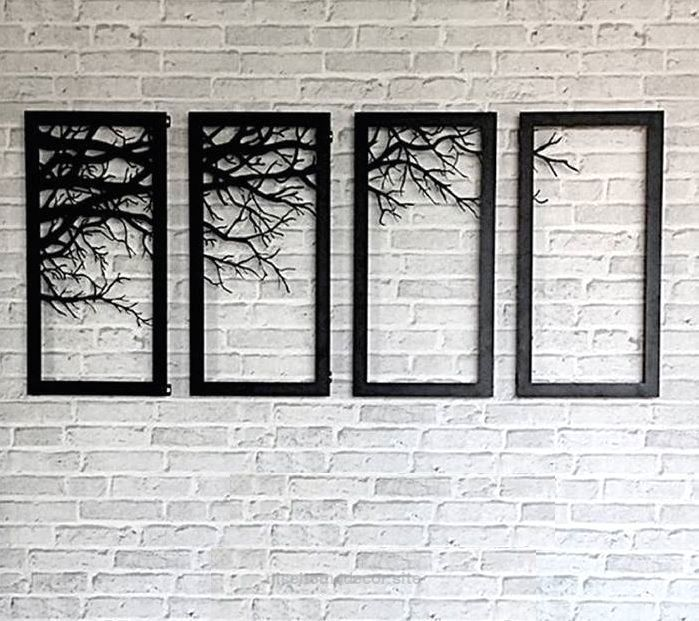 Tree branch framed wall decor laser cutting metal wall art home bed ...