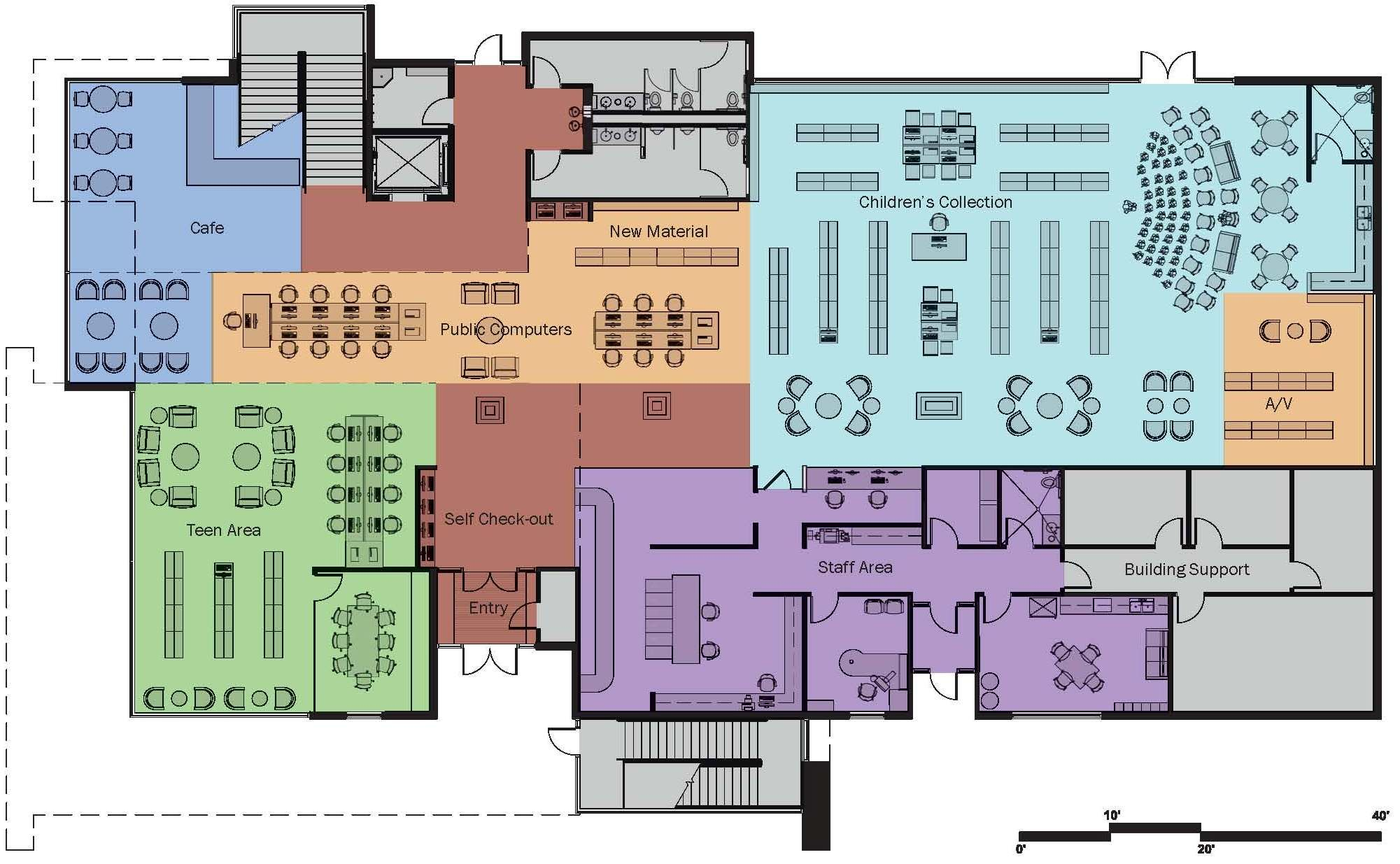Small Private Library Floor Plan The Second Floor Hosts The