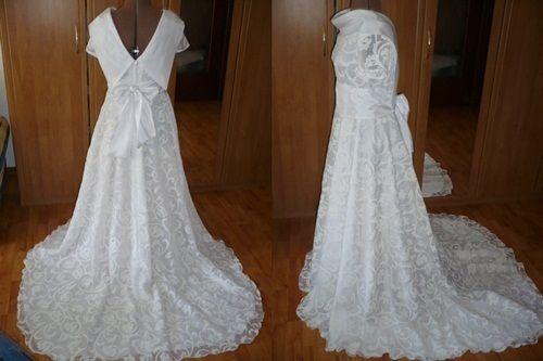 Wunderschönes  Brautkleid mit schleppe und Schallkragen  nach  Ihren Maßen geschneidert   Ein Traum   Kleid aus wunderschönem  Ausbrennerstoff  Unt...