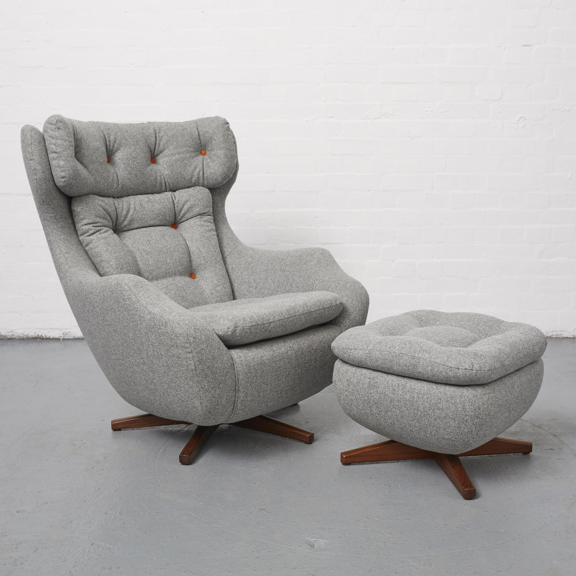 Parker Knoll 1028 vintage Statesman chair and footstool after