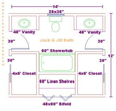 Double Vanity Bathroom Floor Plans jack and jill bathroom design. could we do this with pocket doors