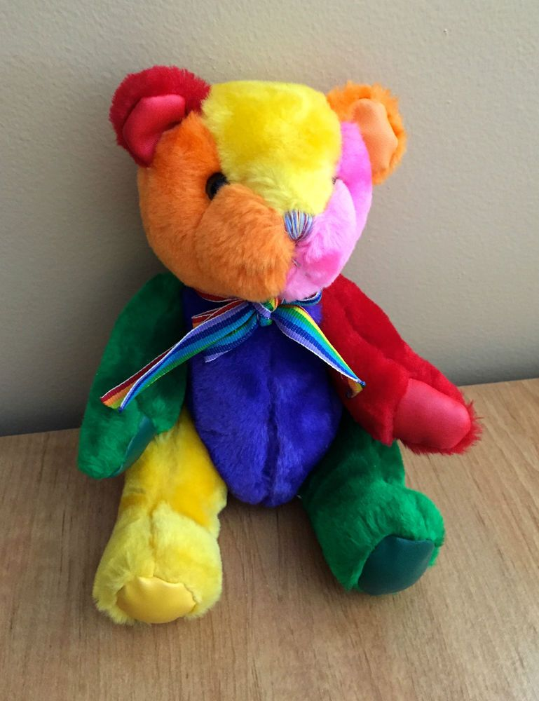 Soft Things Bear Plush Rainbow Multi Colored Teddy Stuffed Animal