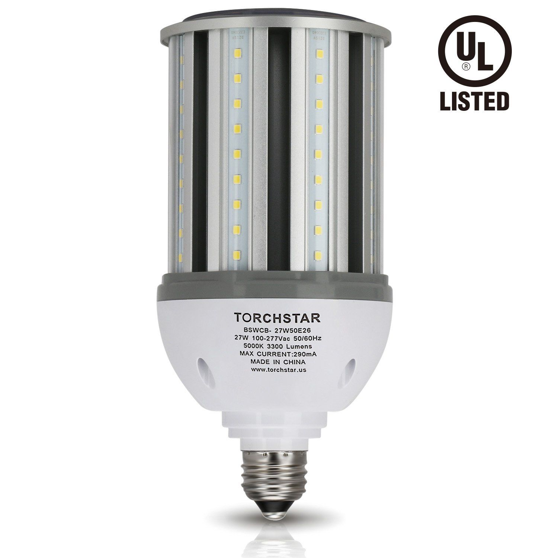 Torchstar 27w Led Corn Light Bulb Ulanddlc For Indoor Outdoor Large Area E26 5000k Daylight 3300lm Super Bright For Street In 2020 Post Lighting Street Lamp Light Bulb
