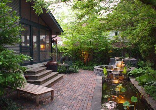 koi teich im garten anlegen idee pflaster fußboden Garten - Terrasse Im Garten Herausvorderungen