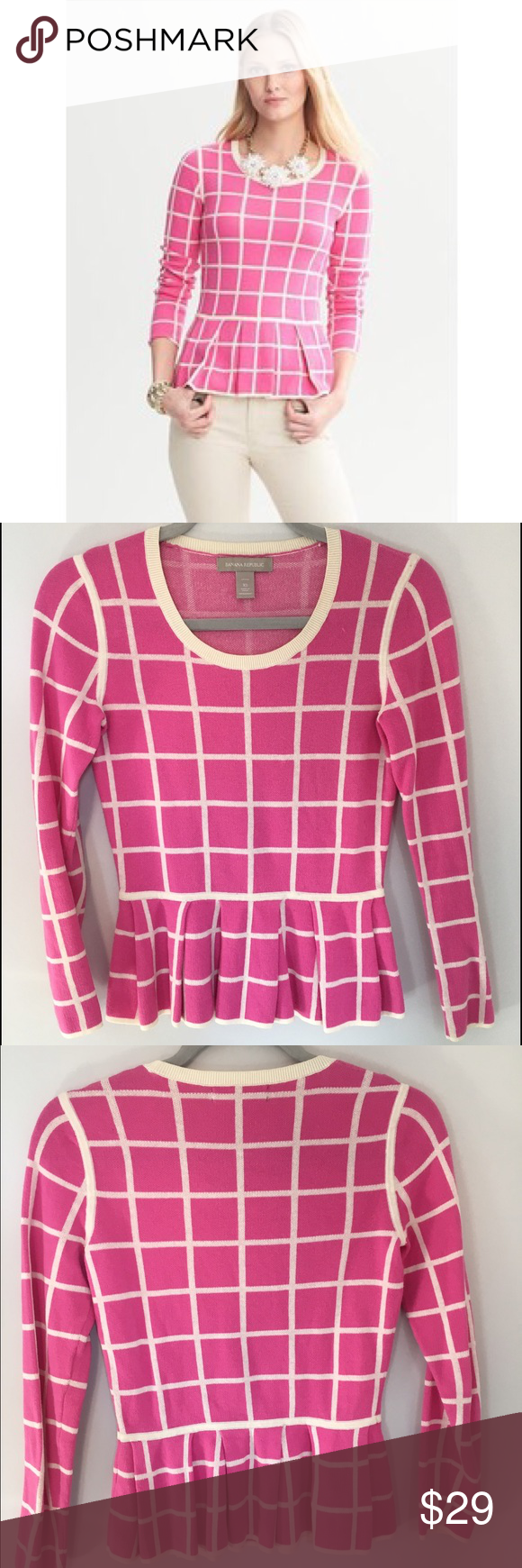 Banana Republic Windowpane Sweater Pink windowpane patterned peplum sweater from Banana Republic. Love this sweater! Looks so cute dressed up or down, bundle to save!! Banana Republic Sweaters