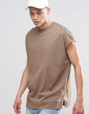 d60c79796763f0 ASOS – Ärmelloses Super-Oversize-T-Shirt aus schwerem Jersey mit seitlichen  Reißverschluss