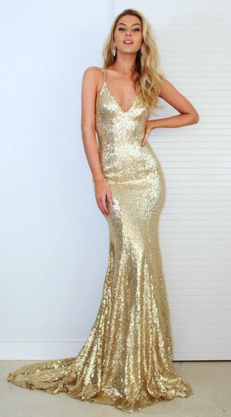 f8201fdc47a V Neck Gold Sequin Prom Dress With Open Back