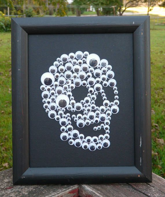 Photo of Googly Eyes Skull ~ 8×10 Black Canvas Panel ~ Unique Halloween or Gothic Decor ~ Wiggly Eyes