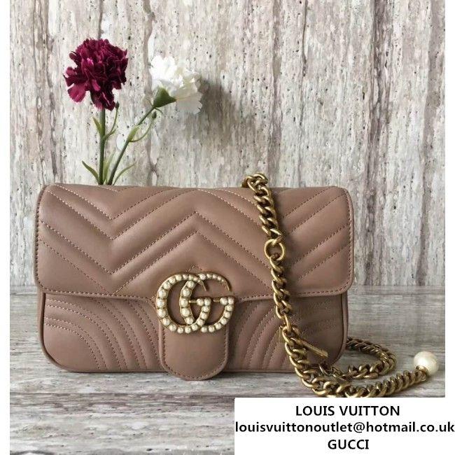 Gucci GG Marmont Medium Matelasse Shoulder Bag Nude 443499