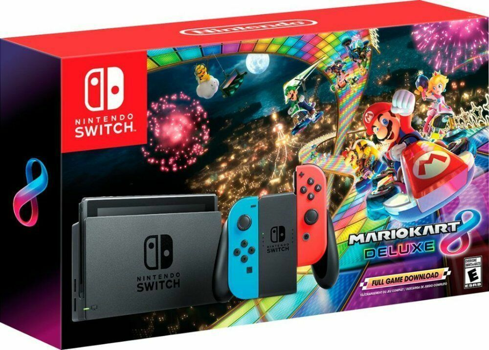Nintendo Switch System With Mario Kart 8 Deluxe Neon Red Blue Hacskablh Nintendoswitch Nintendo Switch Nintendo Switch System Nintendo Switch Mario Kart 8