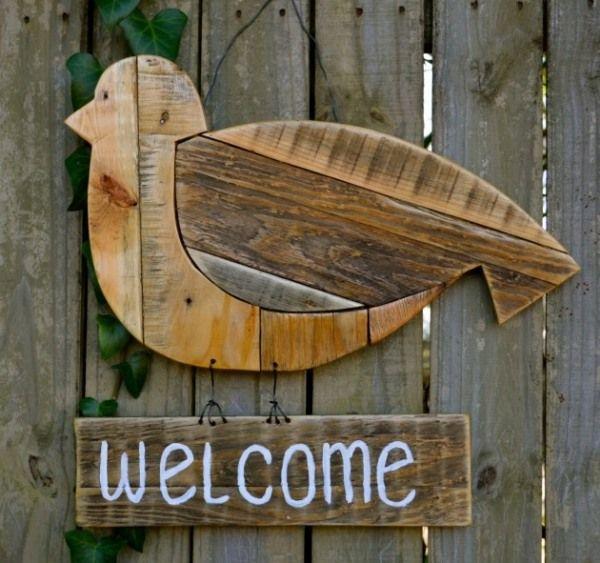 Willkommen schild garten deko vogel aus holz selber for Gartendeko aus holz basteln