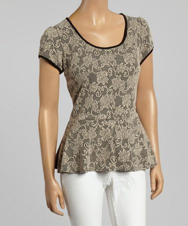 Look at this #zulilyfind! Beige Lace Scoop Neck Peplum Top by MOA Collection #zulilyfinds