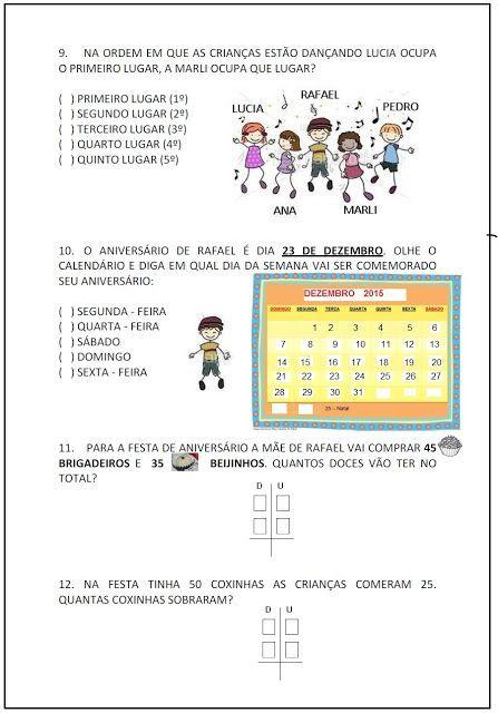 Rosearts Atividades Para Imprimir Avaliacao 3º Avaliacao De