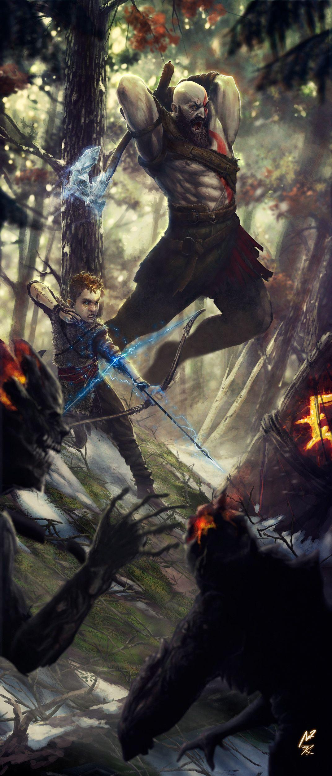Artstation God Of War Kratos Atreus Kaithzer Morejon Kratos God Of War God Of War War