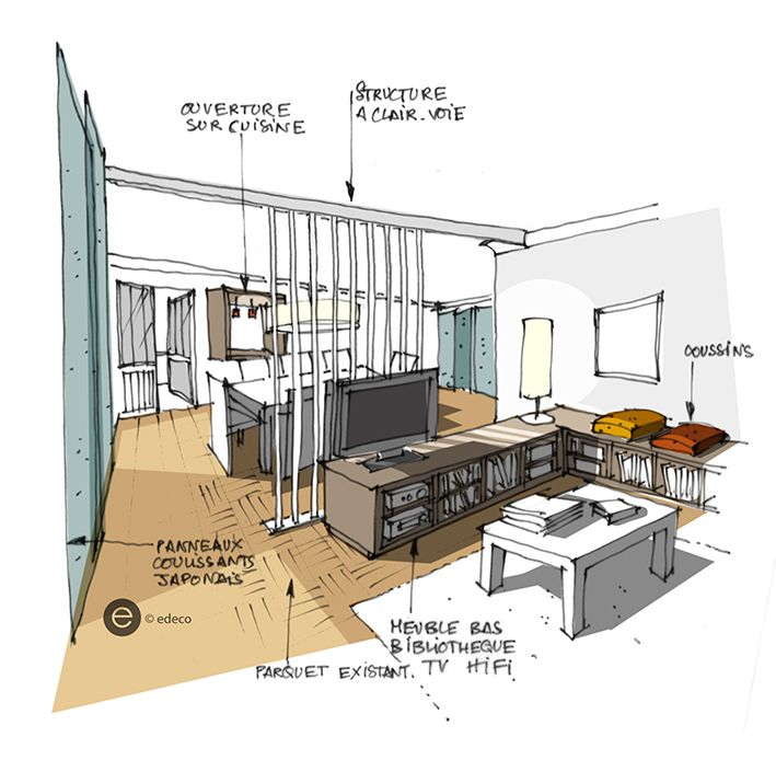 Salon croquis architecture int rieure dominique jean pour for Croquis salon