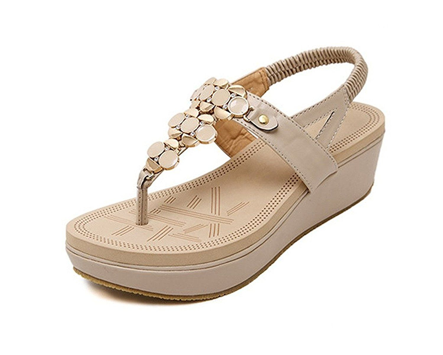 d4509a3c2 Langding Ladies Womens Comfy Open Toe Thong T-Strap Ankle Strap Wedge Heel  Dress Sandals With Sequin well     Continue to the product at the image  link.
