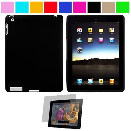 Premium Rubberized Protective Soft Silicone Skin Cover Case for Verizon Wireless New Apple iPad 2 (16GB, 32GB 64GB) 2nd Generation and AT Apple iPad 2nd Generation iPad 2 Wireless Tablet + Anti-Glare Clear Screen Protector for Apple iPad 2 Tablet, Black SumacLife,http://www.amazon.com/dp/B004SCV72Q/ref=cm_sw_r_pi_dp_0c7Trb0T1RWSDMS2