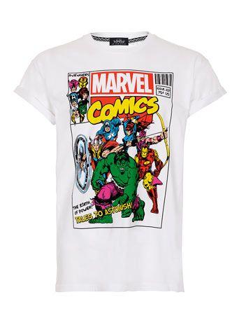 White Marvel High Roll T-Shirt - Printed T-shirts - Mens T-shirts ...
