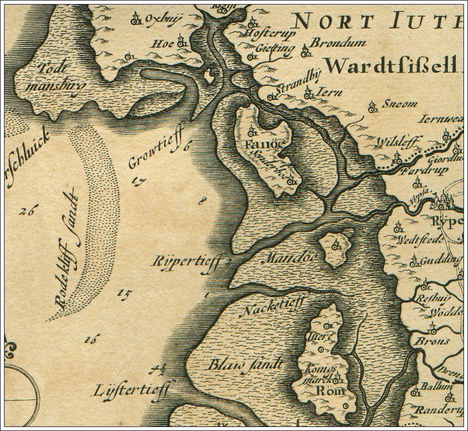 Johannes Mejer Og Caspar Danckwerths Kort Over Fano 1652 Gamle