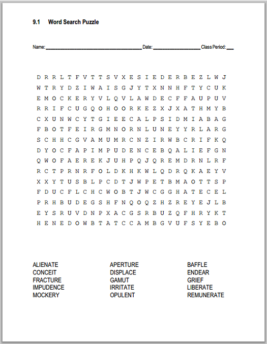 9 1 Vocabulary Terms Word Search Puzzle Free To Print Pdf File Word Search Puzzle Vocabulary Vocabulary List
