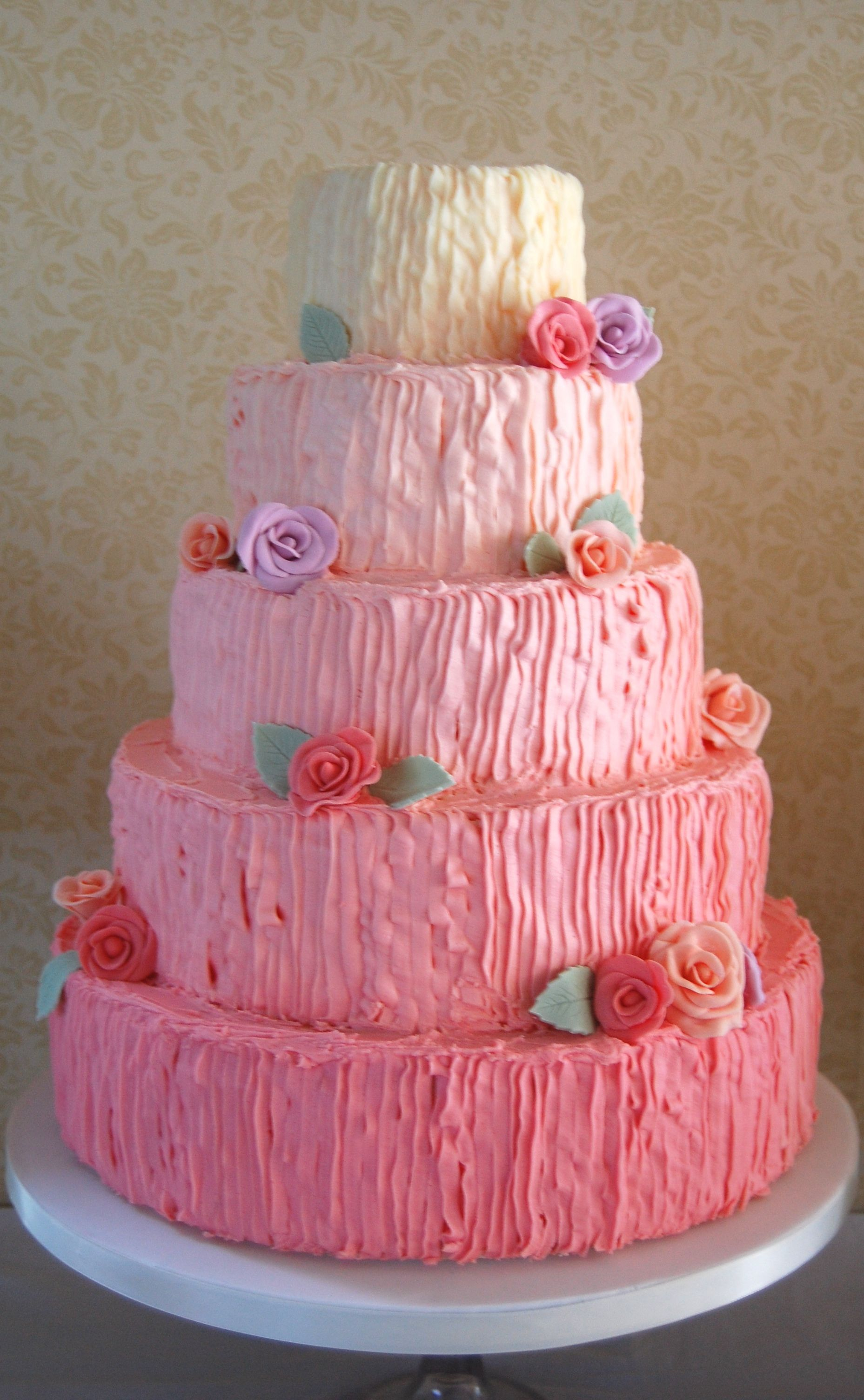 5 Tier Pink Ombre Buttercream Wedding Cake with Icing Roses www ...