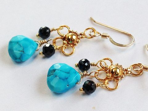 Turquoise, Black Spinel, 24kt Gold Vermeil Chandelier Earrings – Beth Lerner Jewelry http://bethlernerjewelry.com/collections/earrings/products/turquoise-black-spinel-24kt-gold-vermeil-chandelier-earrings