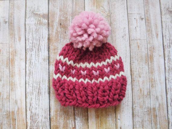 Fair Isle Wool Beanie Pompom Hat Chunky Knit Wool Hat Photo Prop ...