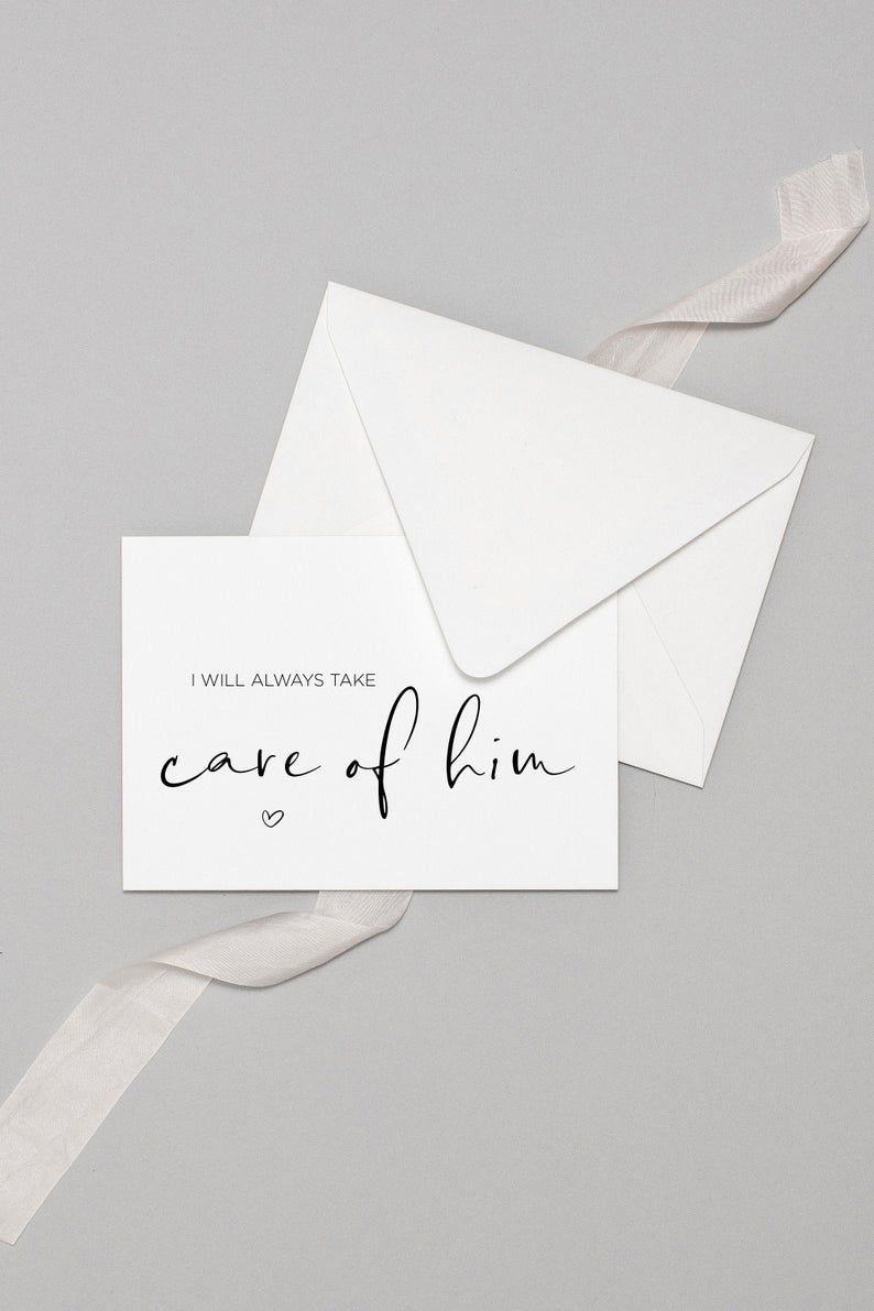 I Will Always Take Care Of Him Wedding Day Downloadable Card