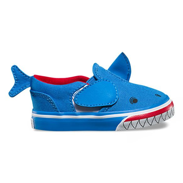 fc235ab3651 Fashion Shoes For Toddlers Girl. The Shark Asher V is a slip-on style  featuring shark-printed canvas uppers with fabric heel tabs
