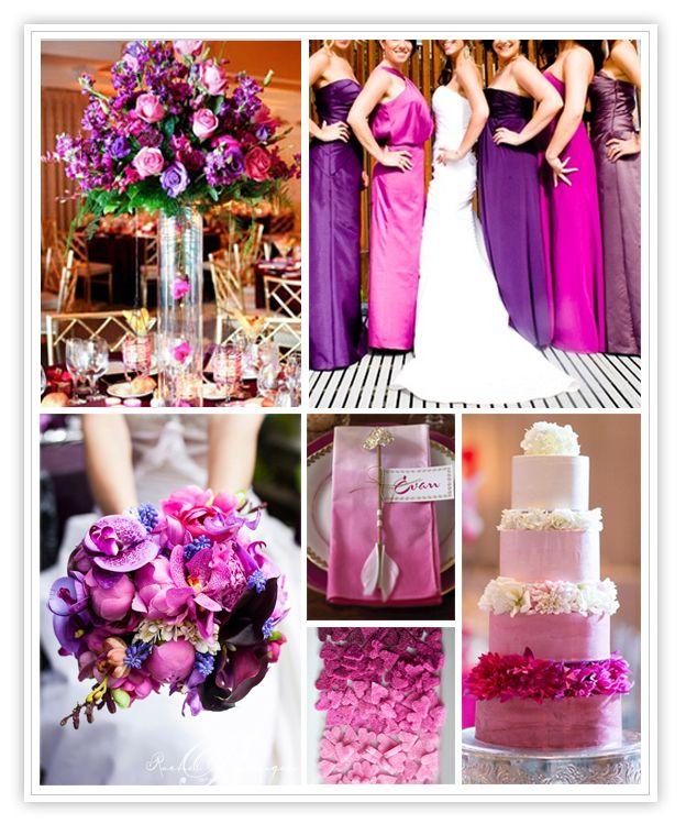 Violet & Fuschia Wedding | vestido damas de honor color menta ...