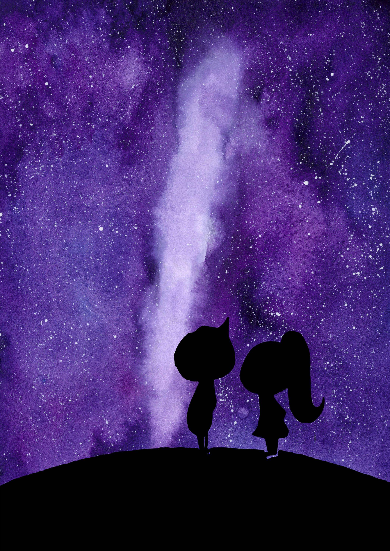 Watercolor Couple Galaxy Etsy Purple Wallpaper Iphone Pineapple Art Print Romantic Paintings