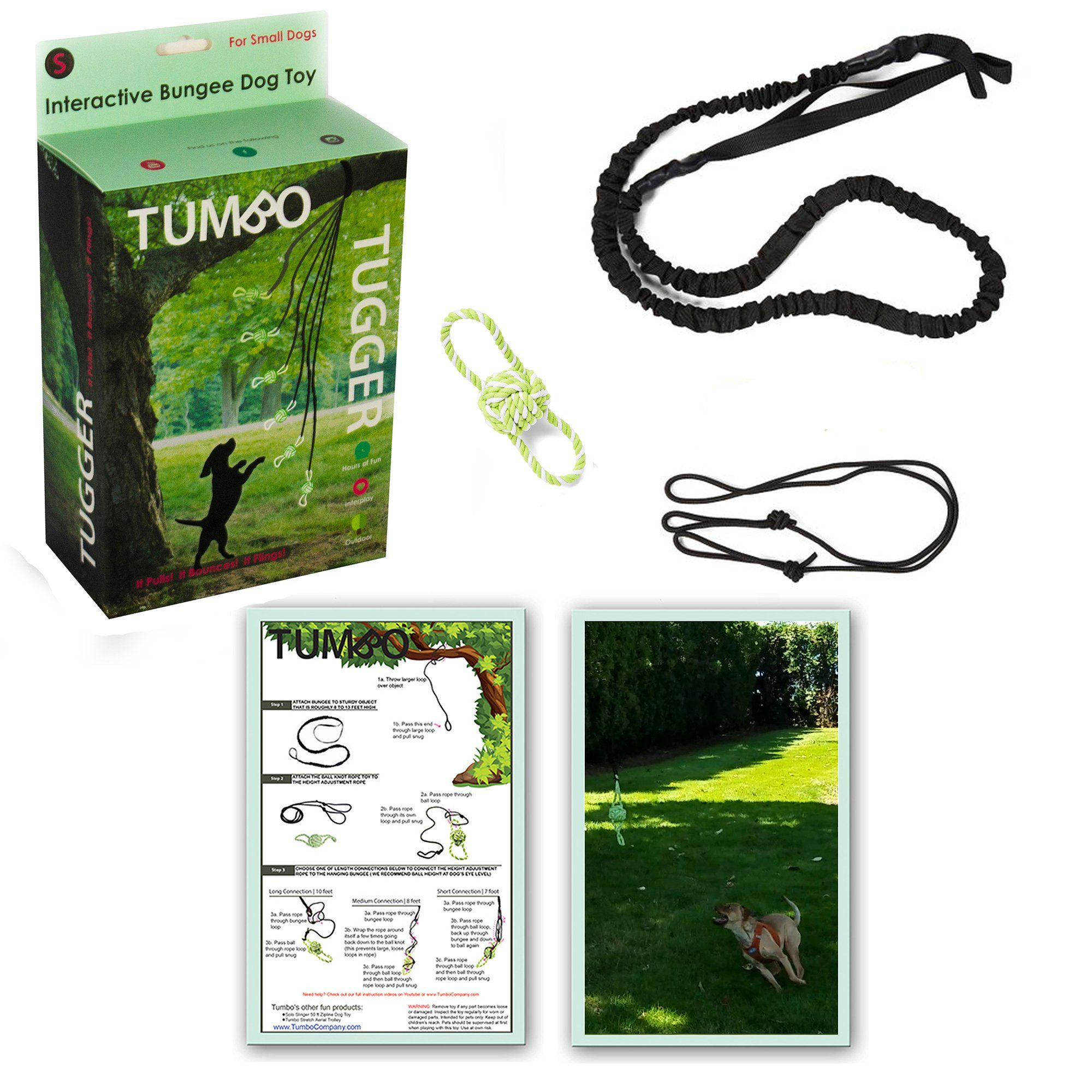 Info's : Tumbo Outdoor Tugger Hanging Bungee Powered Interactive Dog Toy, Small | Petco