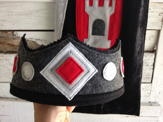 Black and Red Knight Felt Crown - Eco Felt or Wool Felt Crown - Party Crown