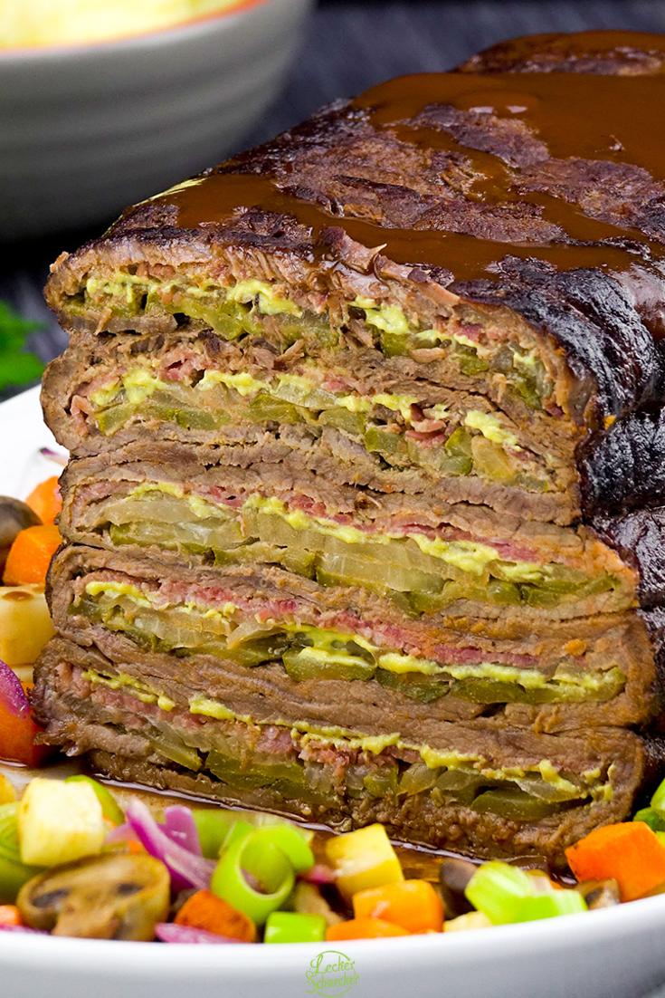 Rouladen-Schichtbraten-Rezept zum Mittag bringt herzhafte Hausmannskost auf den Tisch.