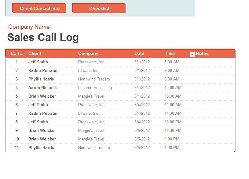 KPI call log spreadsueet Related image NeW bUsInEsS Pinterest - how to create call log template