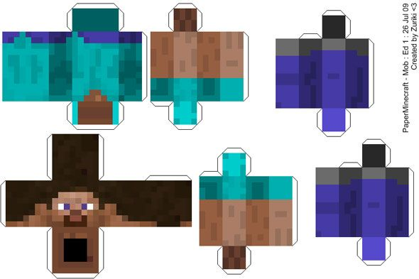 Baixe E Imprima Moldes Para Montar As Pecas De Minecraft Com Papel