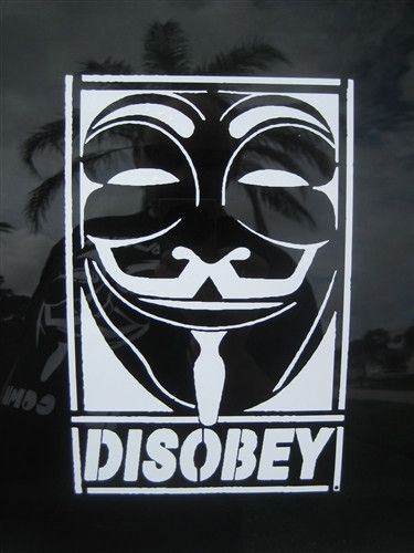 Anonymous disobey guy fawkes mask die cut vinyl sticker decal