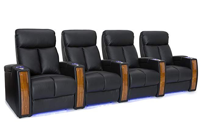 Seatcraft Seville Home Theater Seating Leather Power Recline With  SoundShaker, In Arm Storage, Base Lighting, And Lighted Cup Holders (Black,  ...