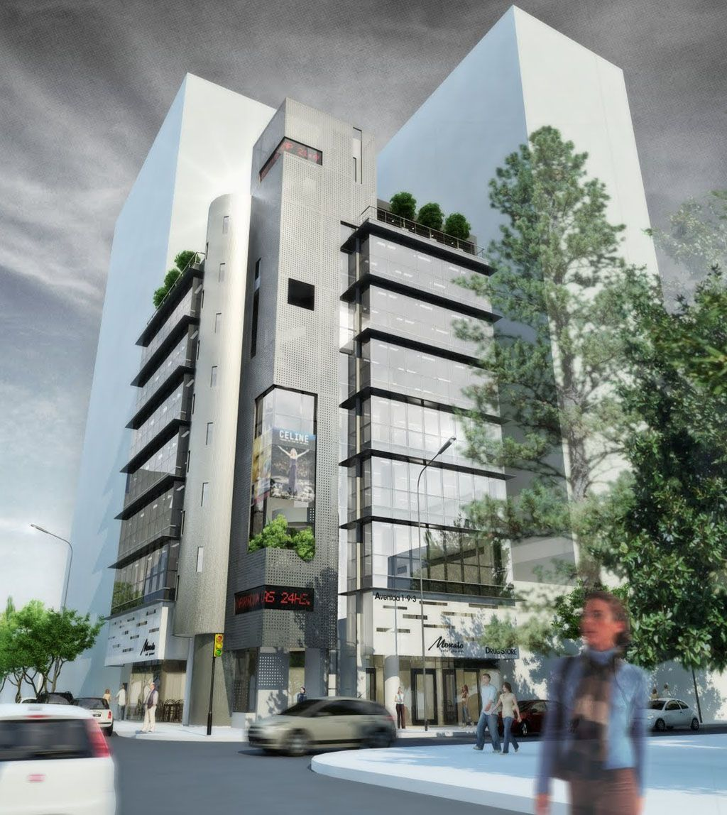 Fachadas modernas de edificio de oficinas buscar con for Fachadas de edificios modernos