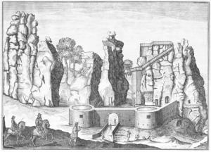 Externsteine, incisione di Elias van Lennep, 1663. Davanti alle Externsteine è presente una costruzione realizzata dalla famiglia nobile cui, all'epoca, apparteneva il terreno. L'edificio fu più tardi demolito.