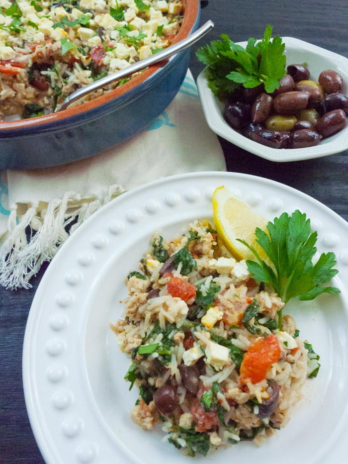 Greek Rice Casserole with Ground Turkey (Low-FODMAP, Gluten Free) IBS Health Coaching and FODMAP Diet Recipes | Calm Belly Kitchen