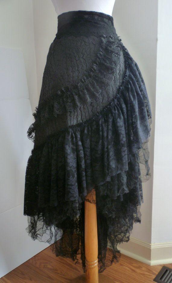 Wrap Skirt - Black Lace Wrap Long Ruffled Wrap Skirt, Steampunk ...