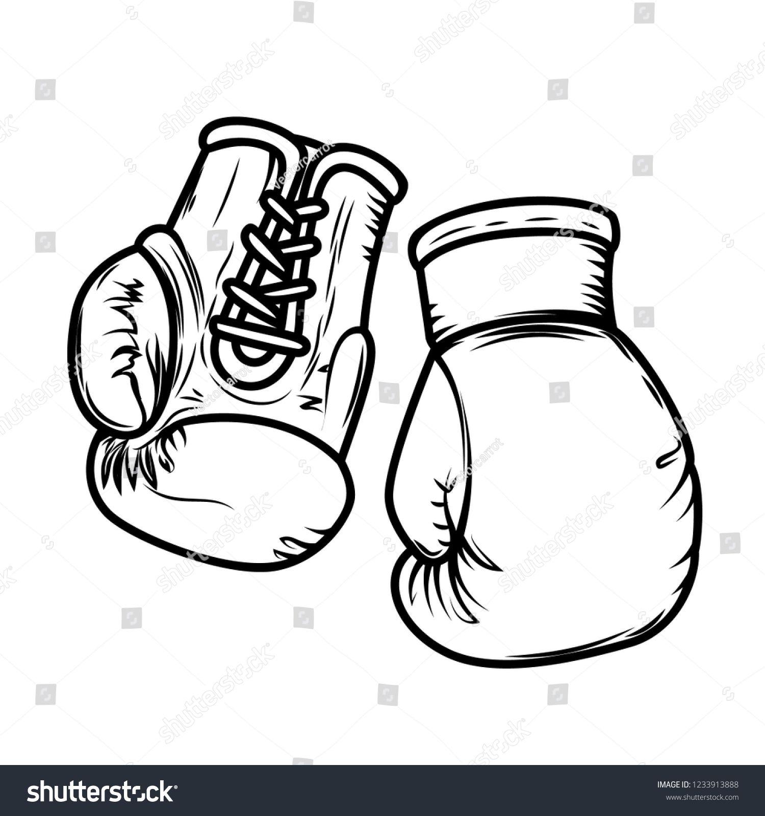 Illustration Of Boxing Gloves Design Elements For Logo Label Sign Menu Vector Image Ad Gloves Illustration Boxing Gloves Drawing Boxing Gloves Art Design