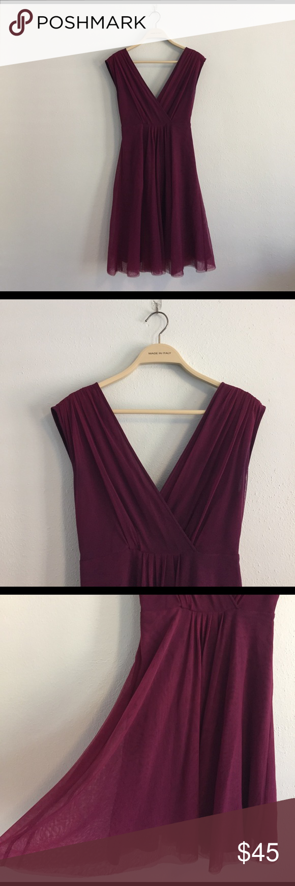 Antropologie- Moulinette Soeurs Purple Sheer Dress Perfect purple dress for a garden party or evening out. The outside shell is made out of nylon with a rayon lining and 100% silk trim. Light and comfortable wear for  any elegant occasion. Comes to right above the knee length. Anthropologie Dresses Mini