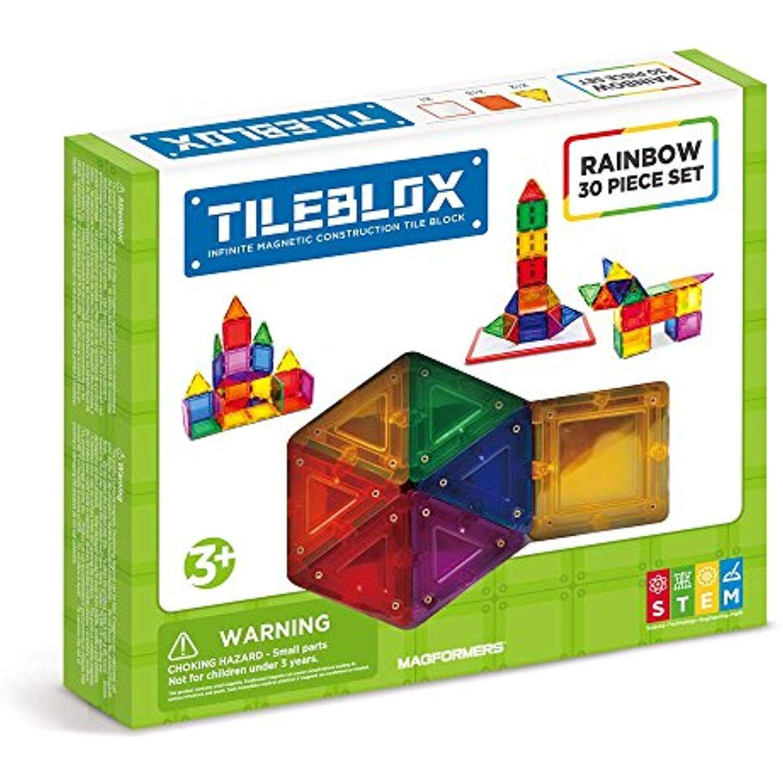 STEM Toy Educational Tiles Basic Set Magnetic Building Blocks 30 Pieces
