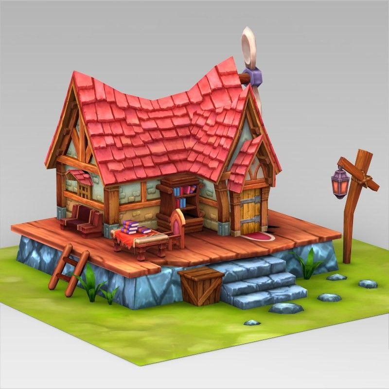 Fantasy Sweet Home 3d 3ds House 3d Model Cartoon Building Cartoon House